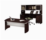 "Mayline Medina 72"" Mocha Executive Desk and Rear Wall Credenza Set"