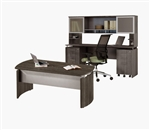Mayline Medina Collection Executive Desk and Credenza Set with Gray Steel Finish