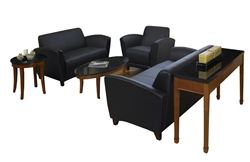 3 Piece Black Leather Santa Cruz Lounge and Reception Furniture Set by Mayline
