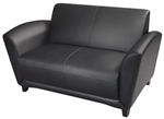 Santa Cruz Series Black Leather Office Settee by Mayline