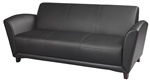 Santa Cruz Black Leather Office Sofa by Mayline