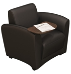 Santa Cruz Mobile Black Leather Lounge Chair with Tablet Arm by Mayline