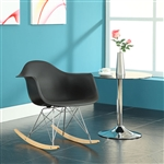 Rocker Plastic Chair with Wood Bases by Modway