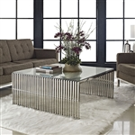 Modway Gridiron EEI-284-SLV Modern Glass Coffee Table