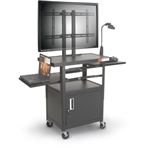 MooreCo Height Adjustable Flat Panel Cart with Locking Media Cabinet 27530M