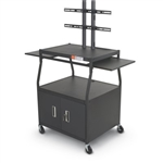 MooreCo Wide Body Flat Screen Multi Media Cart with Locking Cabinet 27531M