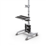 MooreCo 27614 Beta Series Single Screen Sit-Stand Workstation with Keyboard Platform