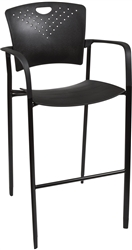 MooreCo Oui Black Nylon Stacking Stool with Arms 34734