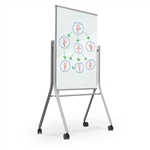 MooreCo Visionary Curve Mobile Magnetic Glass Whiteboard 74955