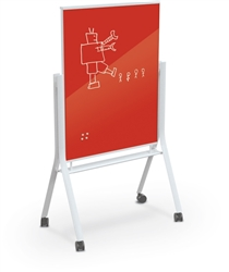 MooreCo Red Glass Dry Erase Board with Magnetic Surface