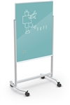 MooreCo Visionary Move Light Blue Magnetic Glass Whiteboard