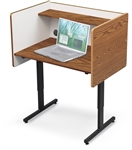 MooreCo Adjustable Height Carrel with Oak Laminate Finish