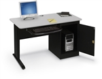 "MooreCo LX 48"" Gray Computer Workstation with Locking CPU Cabinet 90106"