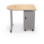 MooreCo Mobile Teacher Workstation with Locking Cabinet