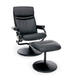 Essentials by OFM Black Leather Recliner with Ottoman
