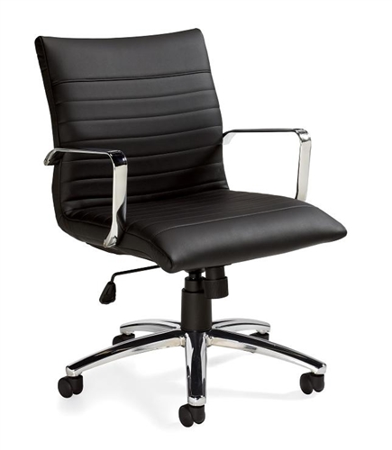 Swell Otg11734B Black Luxhide Leather Ribbed Back Office Chair By Offices To Go Pdpeps Interior Chair Design Pdpepsorg