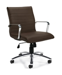 Offices To Go Luxhide Dark Brown Ribbed Back Conference Chair OTG11734B