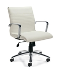 Offices To Go White Ribbed Back Conference Chair - OTG11734B-BL28