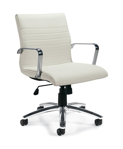 Pleasing Offices To Go White Mid Back Conference Chair With Ribbed Back Pdpeps Interior Chair Design Pdpepsorg