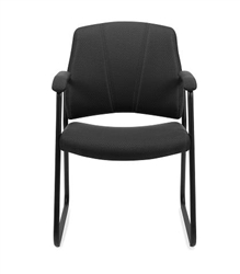 11892 Black Fabric Sled Base Guest Chair with Arms by Offices To Go