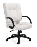 Offices To Go Luxhide Mid Back Executive Conference Chair in White