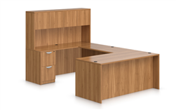 Offices To Go Autumn Walnut Superior Laminate U Desk with Hutch