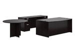 Espresso Executive Office Desk with Credenza and Side Table by Offices To Go