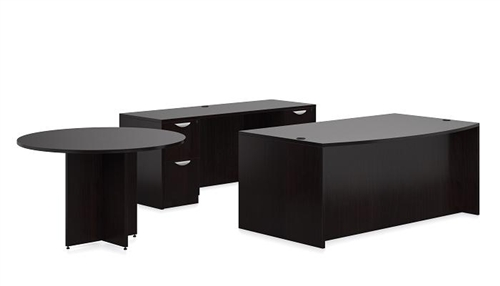 offices to go espresso executive office desk with credenza side table