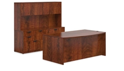 American Dark Cherry Bow Front Desk Configuration in Dark Cherry by Offices To Go