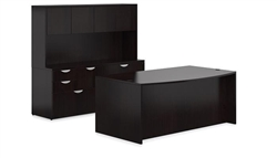 Espresso Bow Front Desk and Storage Credenza Set by Offices To Go