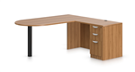 Offices To Go Superior Laminate D-Island Corner Desk In Walnut