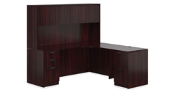 Mahogany L-Desk with Hutch by Offices To Go