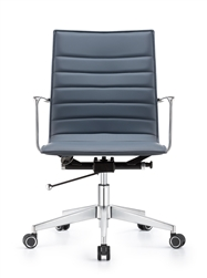 Joe Mid Back Charcoal Blue Leather Conference Chair by Woodstock Marketing