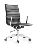 Joe Carbon Black Ribbed Back Conference Chair by Woodstock Marketing