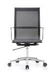 Joan Modern Black Mesh Office Chair with Chrome Polished Frame