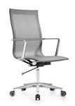 Joan Modern Gray Mesh Office Chair with Chrome Polished Frame