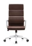 Jimi High Back Brown Leather Professional Executive Chair with Chrome Frame