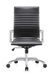 Janis Contemporary Black Leather Office Chair by Woodstock
