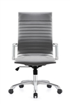 Janis Contemporary Gray Leather Office Chair by Woodstock