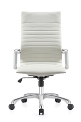 Contemporary White Leather Office Chair by Woodstock