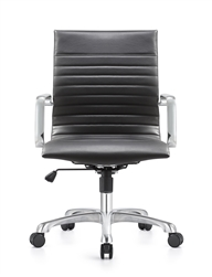 Janis Black Leather Mid Back Conference Chair with Polished Frame