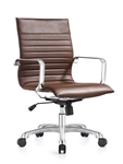 Janis Brown Leather Mid Back Swivel Chair with Polished Frame
