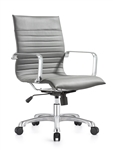 Janis Gray Leather Mid Back Conference Chair with Polished Frame