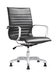 Janis Ribbed Back Black Leather Side Chair by Woodstock Marketing