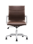 Janis Ribbed Back Brown Leather Side Chair by Woodstock Marketing
