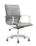 Janis Ribbed Back Gray Leather Side Chair by Woodstock Marketing