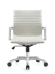 Janis White Leather Mid Back Conference Chair with Polished Frame