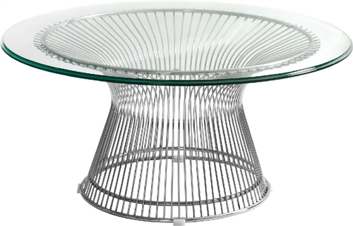 Santana Series Contemporary Glass Coffee Table With Metal Base By Woodstock