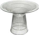 Santana Series Modern Round Office Table with Glass Top