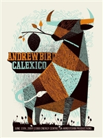 Andrew Bird and Calexico Concert Poster, June 15th 2009, Cobb Energy Centre, Atlanta, USA handmade silkscreen print by Methane Studios,
